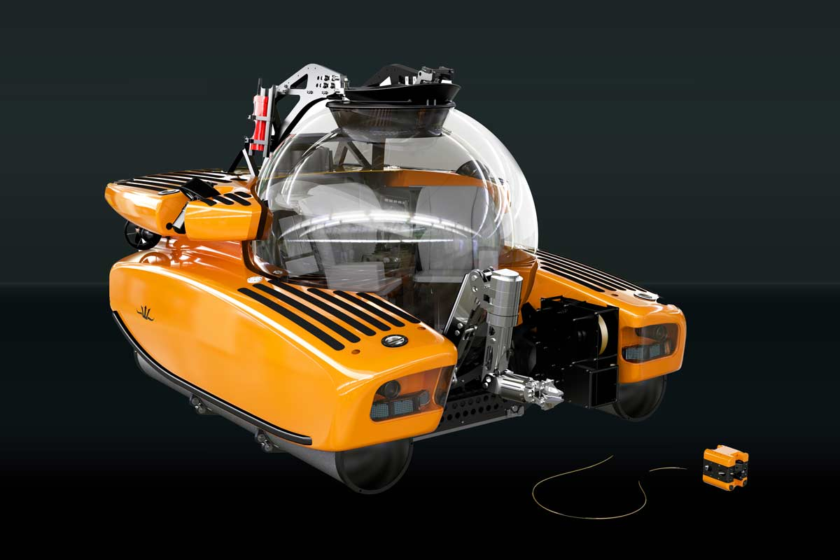 Triton submersible with fly-out micro-ROV