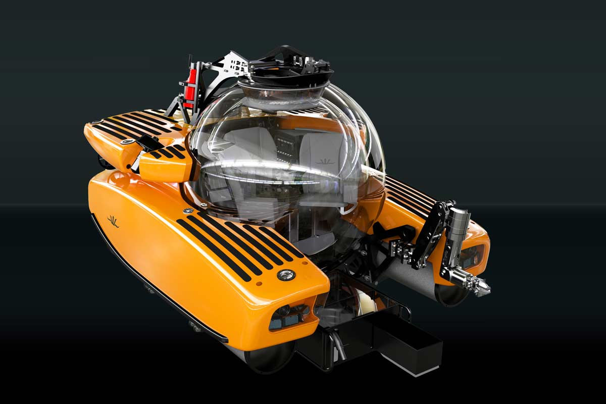 Triton submersible fitted with scientific skid including manipulator and sample basket