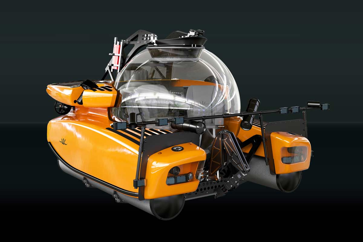 Triton submersible fitted with Film & TV Equipment, cameras and lighting.