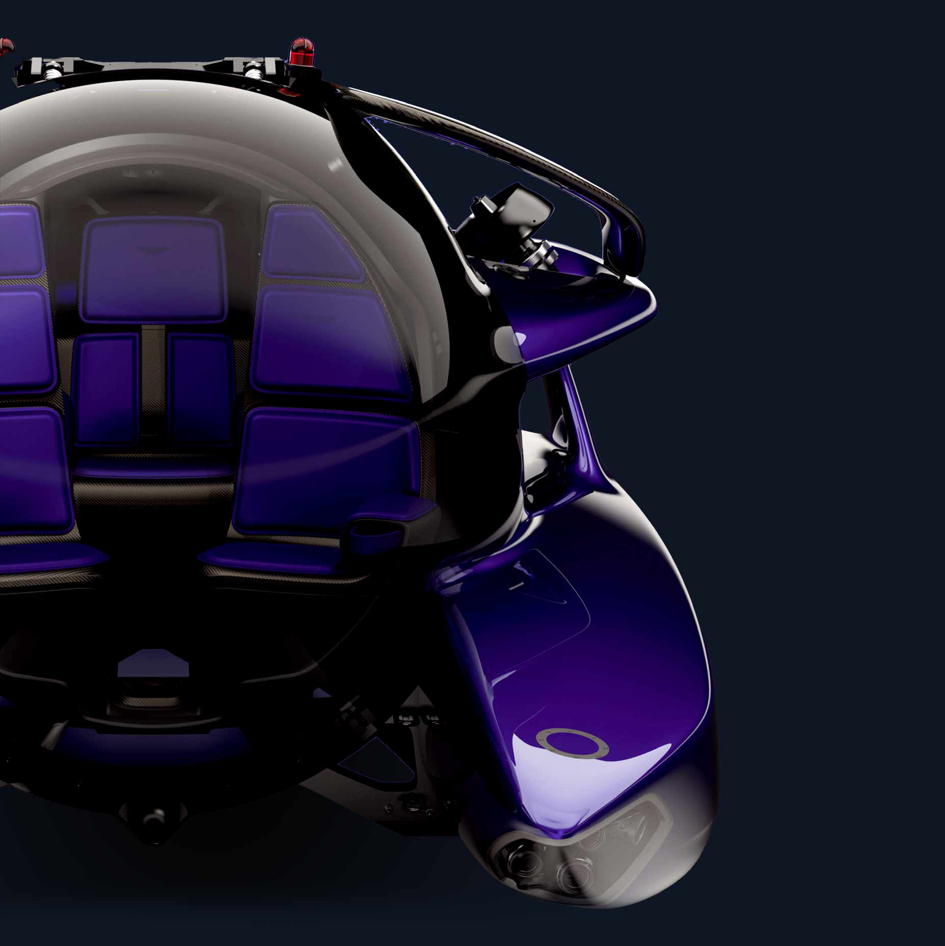 The front of Project Neptune, showing the large acrylic sphere and luxurious interior