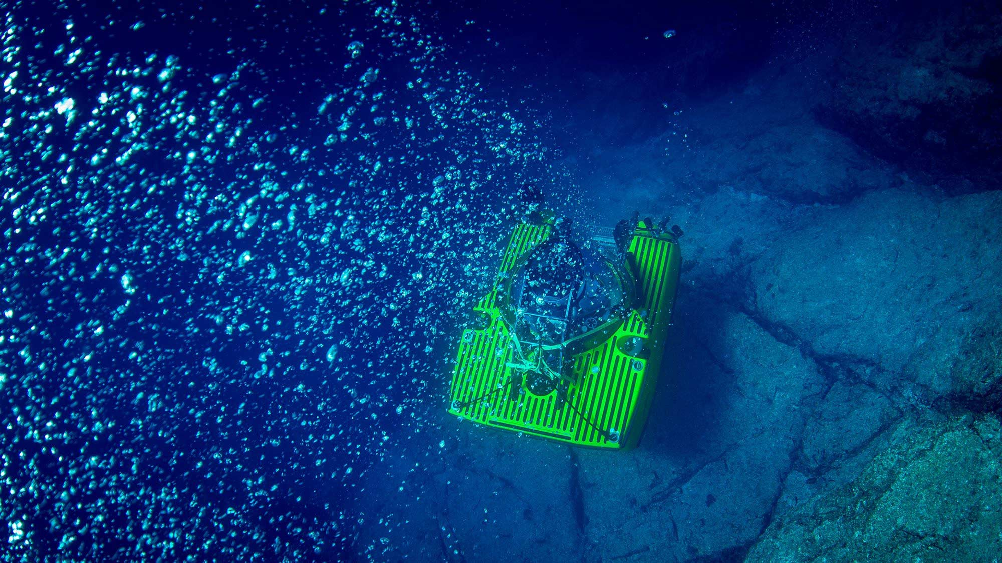 Triton sub sits on the seabed