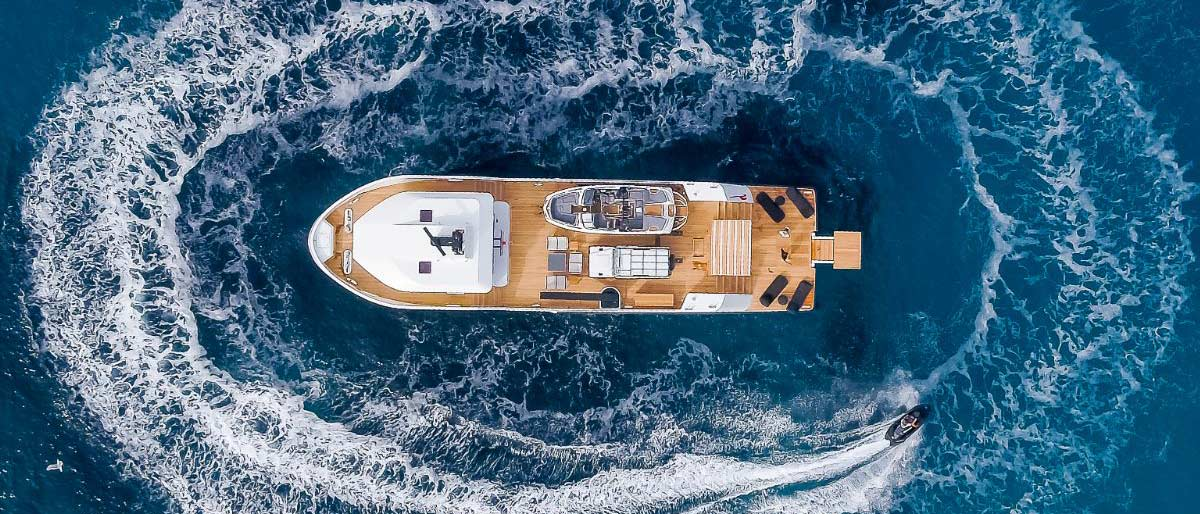 Lynx Yacht photographed from above
