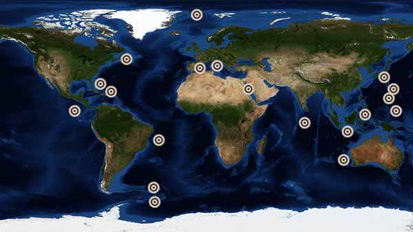 World map showing dozens of Triton dives across all continents