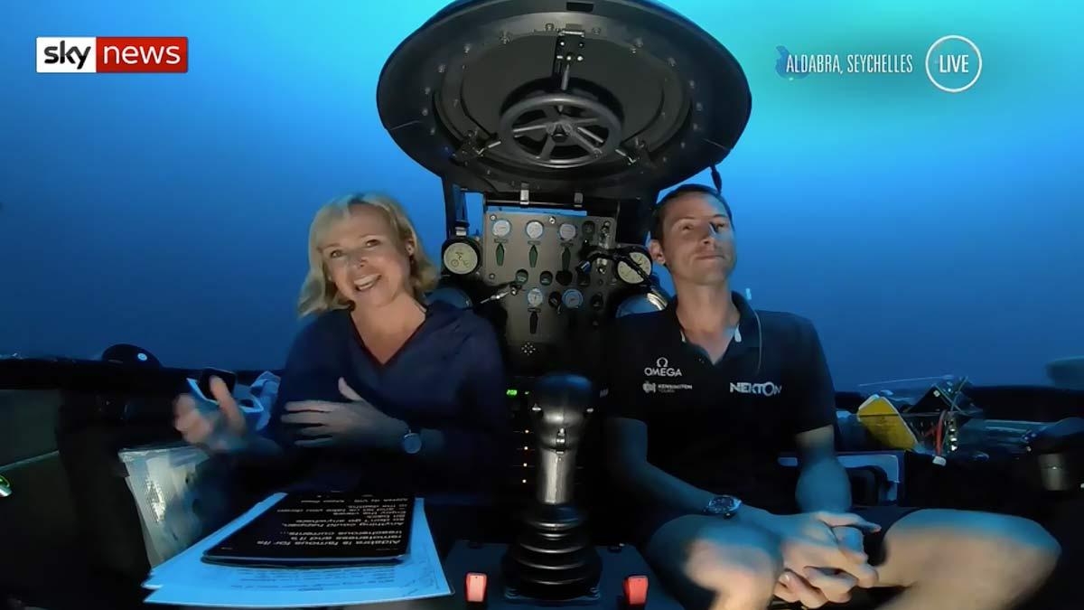 Sky News live subsea news bulletin from a Triton submersible - Nekton