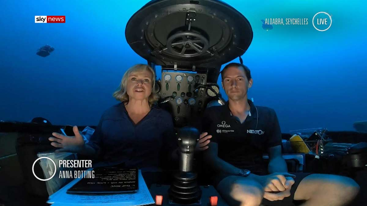 Nekton & Sky News subsea live new broadcast in a Triton sub
