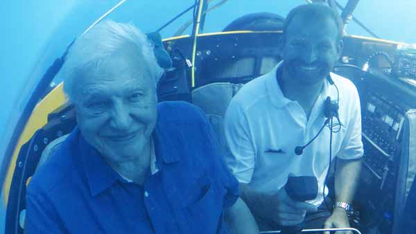 Sir David Attenborough in a Triton submersible