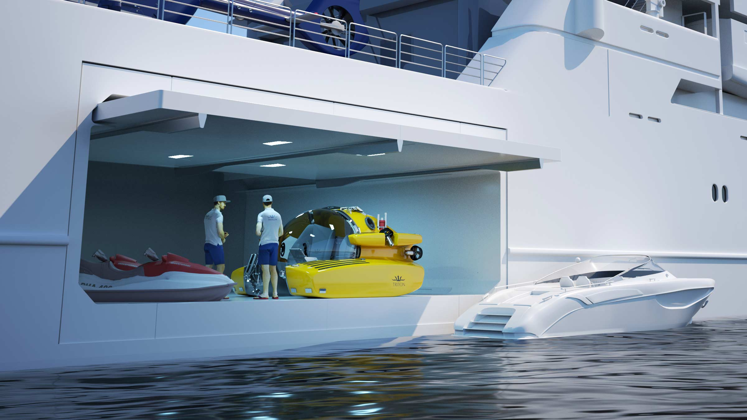 Triton submersible integrated into super yacht tender garage