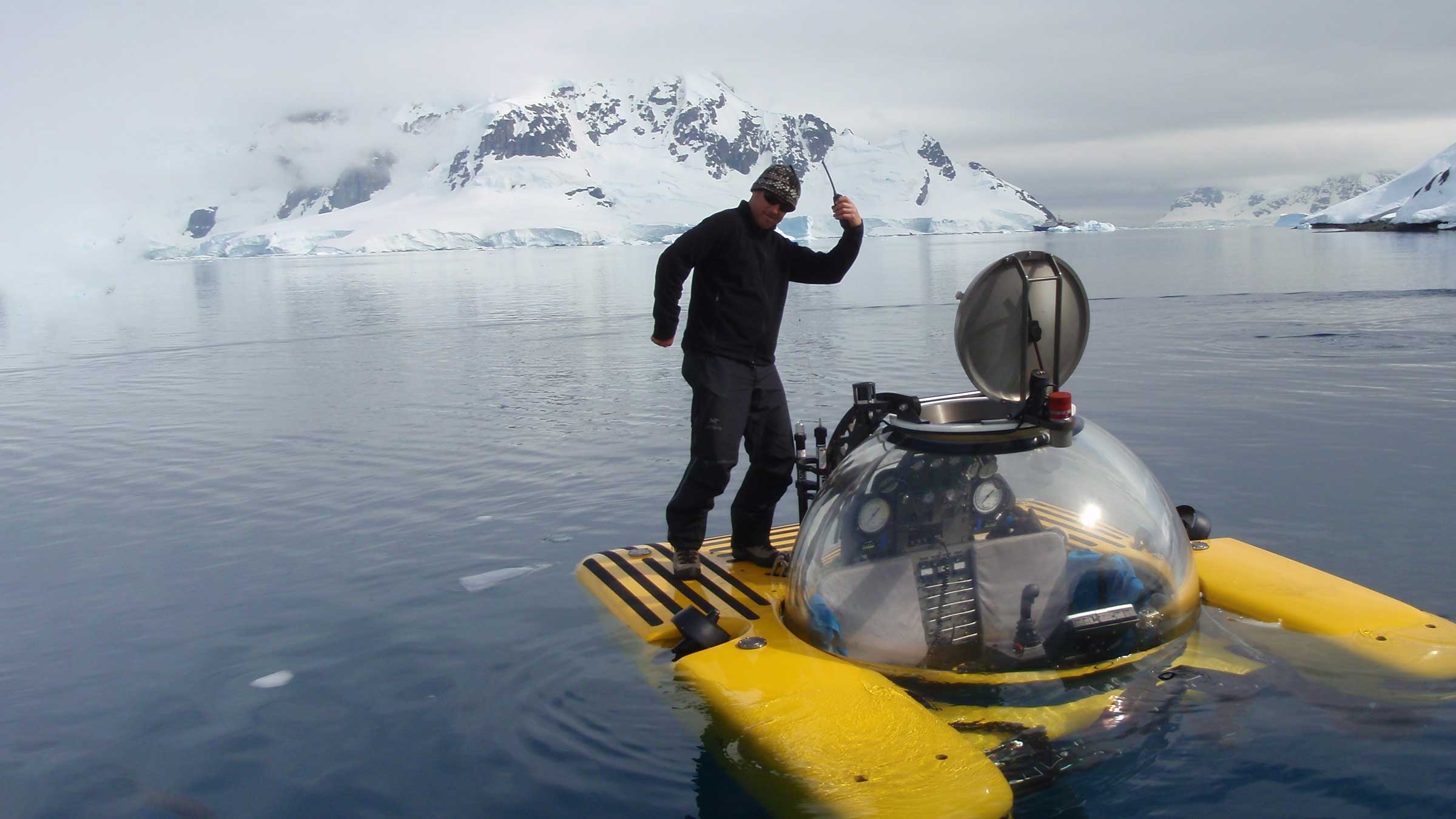 Demonstrating Triton's surface stability by standing on pontoons during surface ops In Antartica