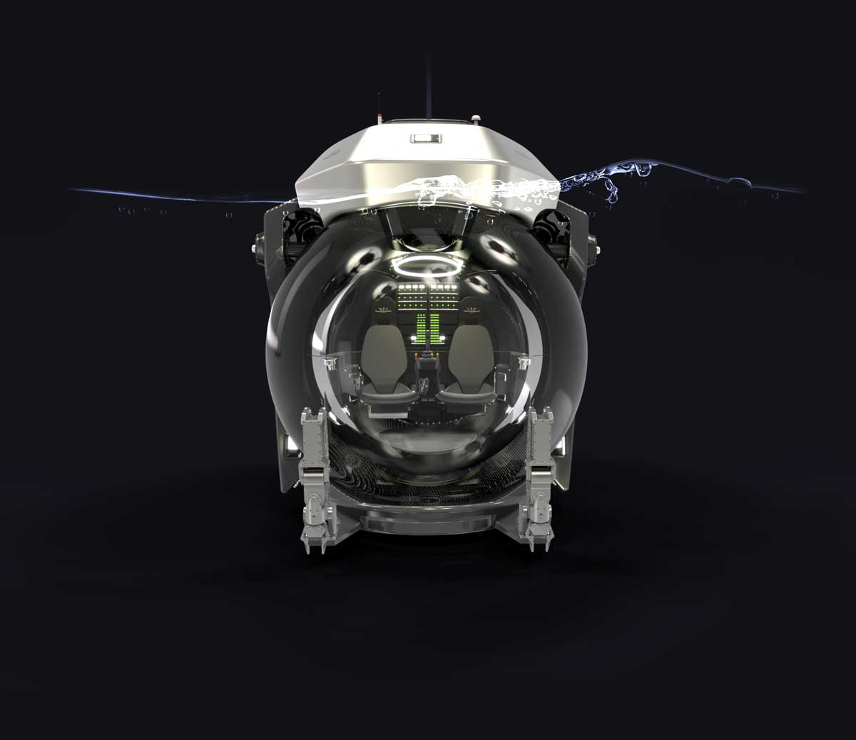 Submersible enters water with wings folded for streamlined, hydrodynamic vertical movement.