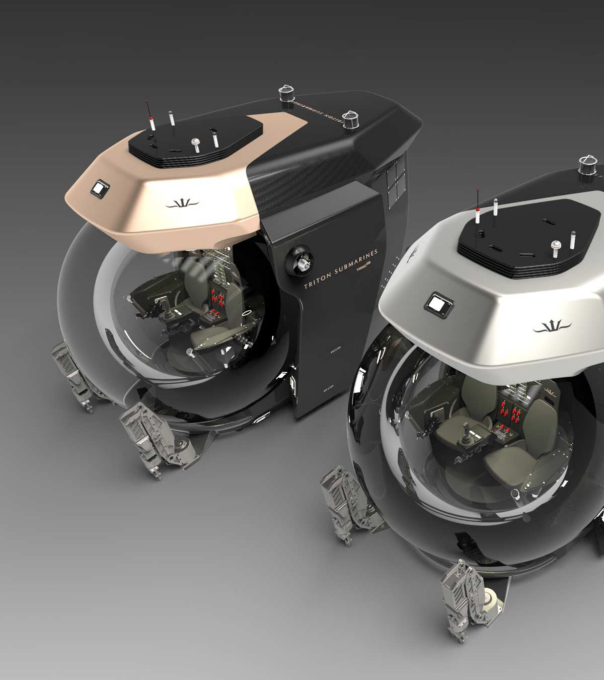 Two Triton Gull Wing submersibles side-by-side
