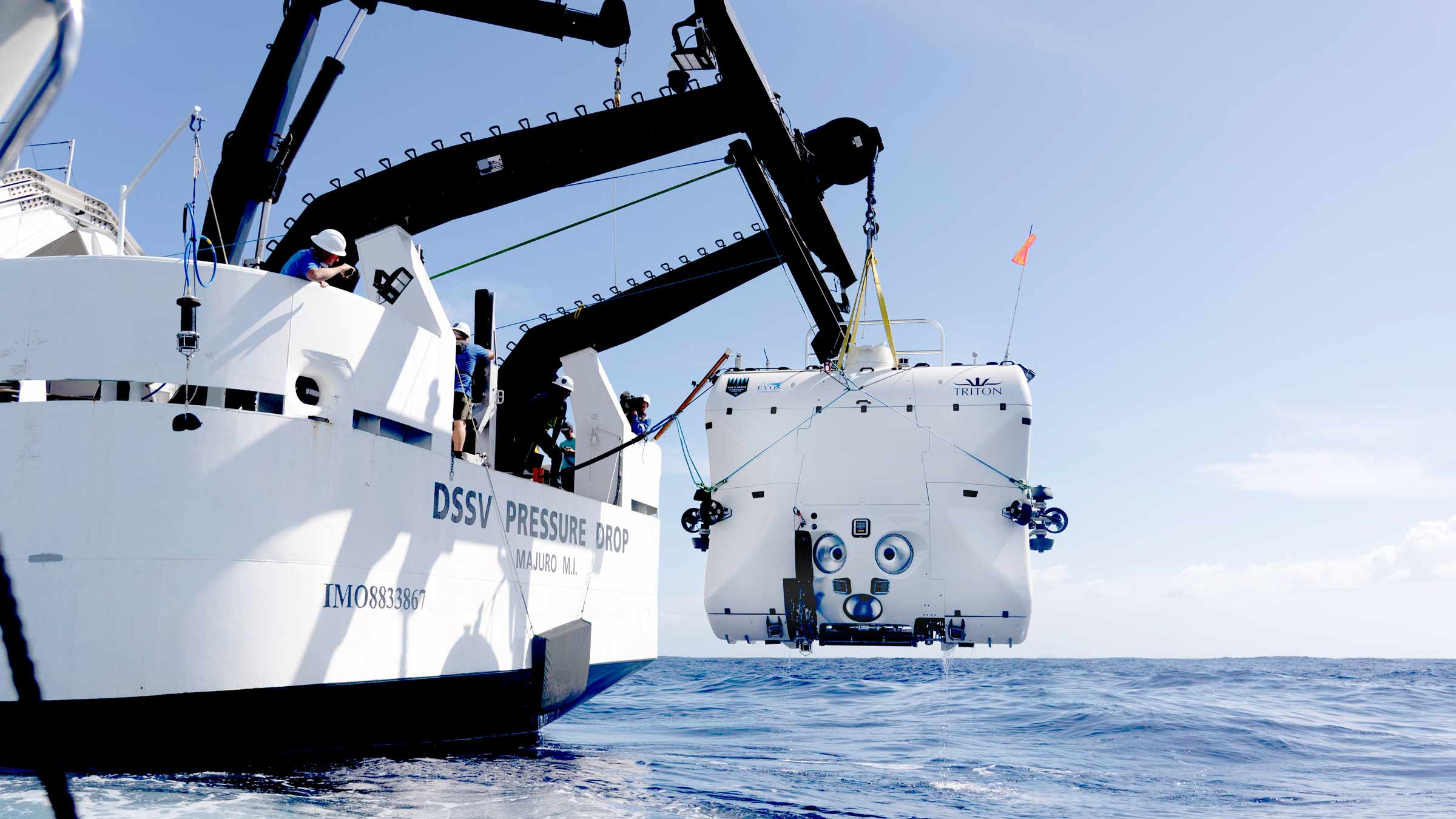 Triton 33000/2 launching from vessel. Part of the Triton Hadal Exploration System