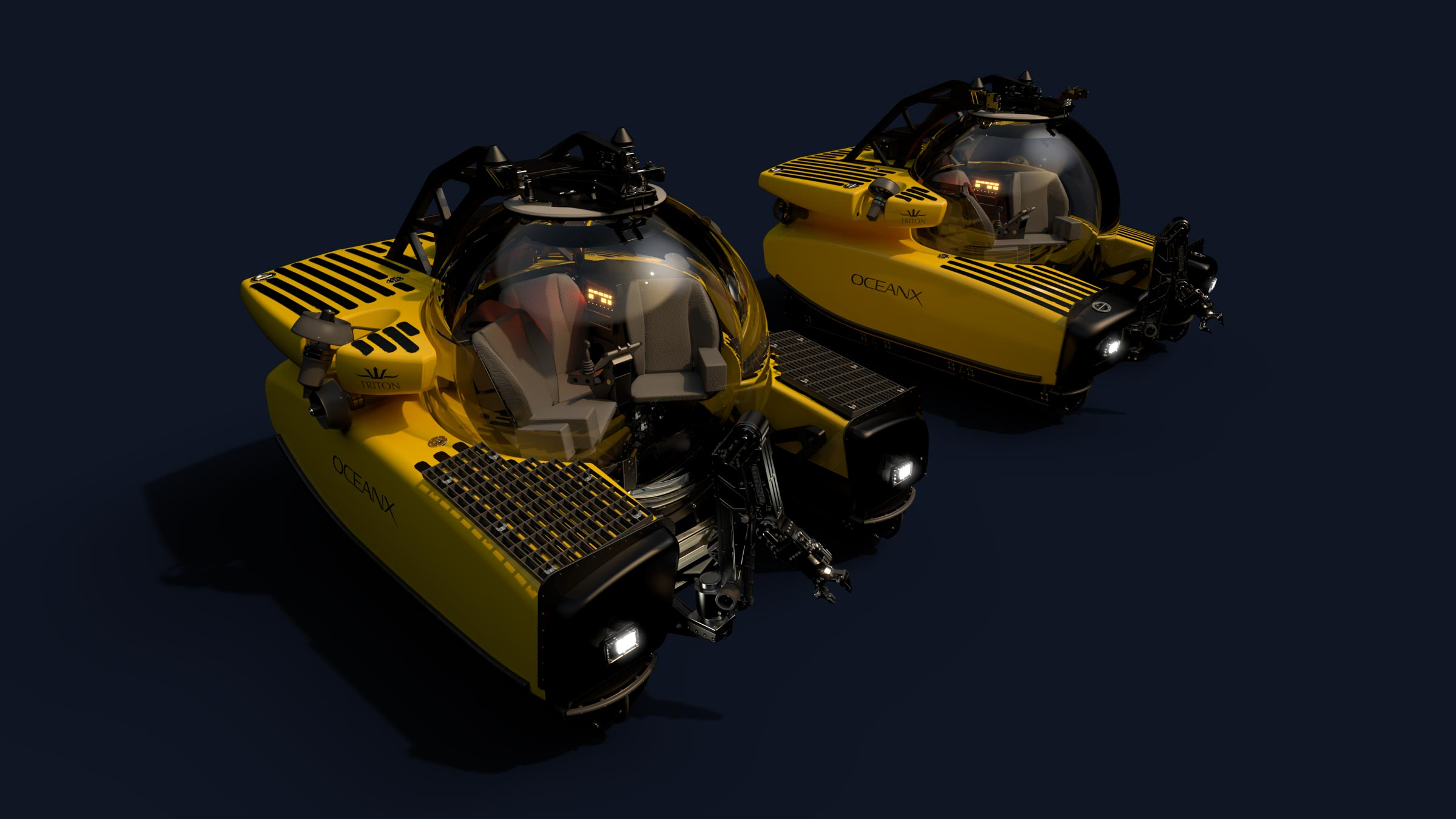 Image of the two TRITON 3300/3 submersibles owned by OceanX