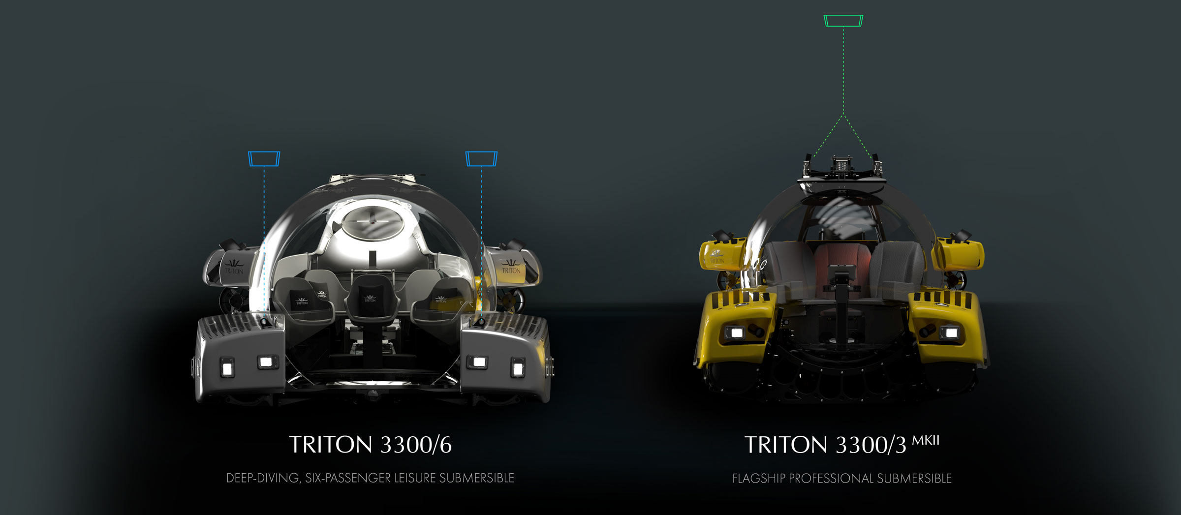 Comparison of lifting arrangements for Triton 3300/6 and 3300/3. T3300/6 requires significantly less overhead.