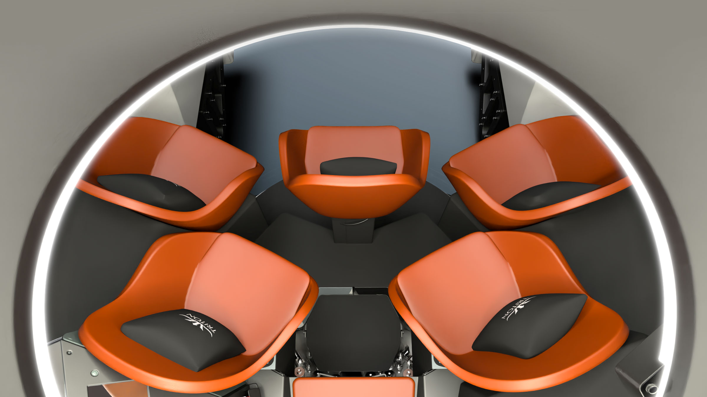 Top-down view of Triton 3300/6 interior seating.